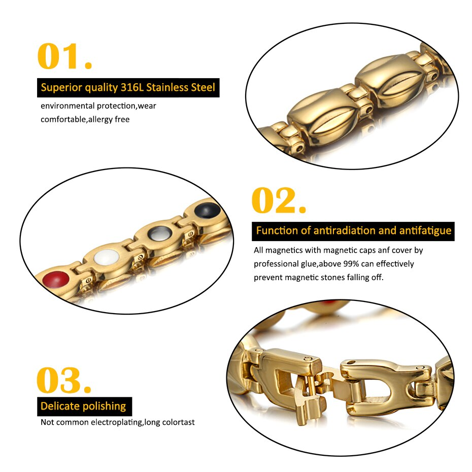 Gold Plated Titanium Magnetic Bracelet with Germanium