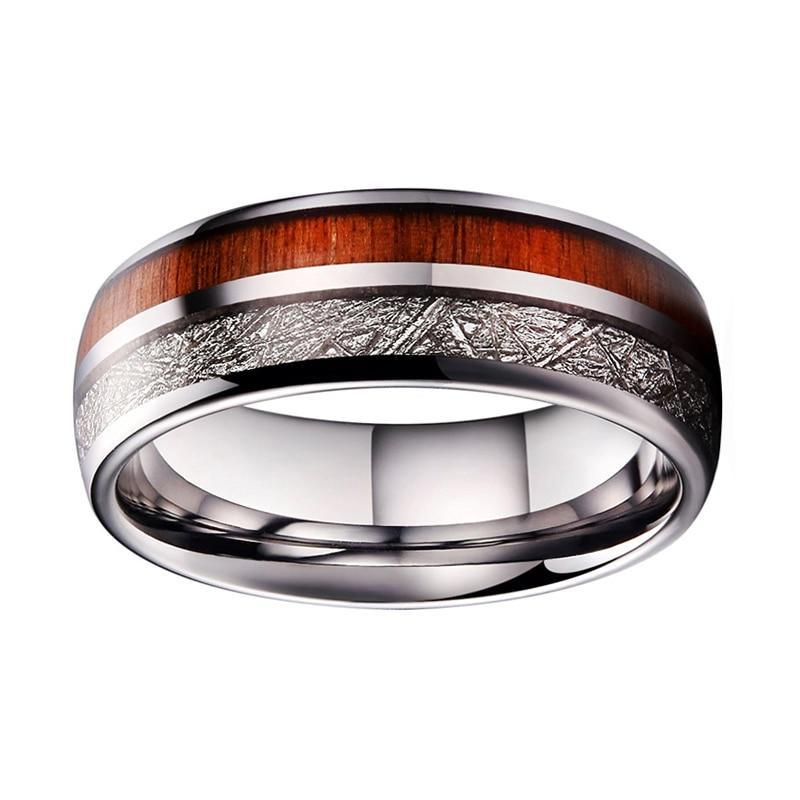 Tungsten Ring with Real Wood and Silver Meteorite Inlay