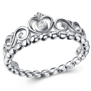 8mm Silver Plated Oval Copper Women's Wedding Band with a Crown, Bead Design and Cubic Zirconia Crystal - Innovato Store