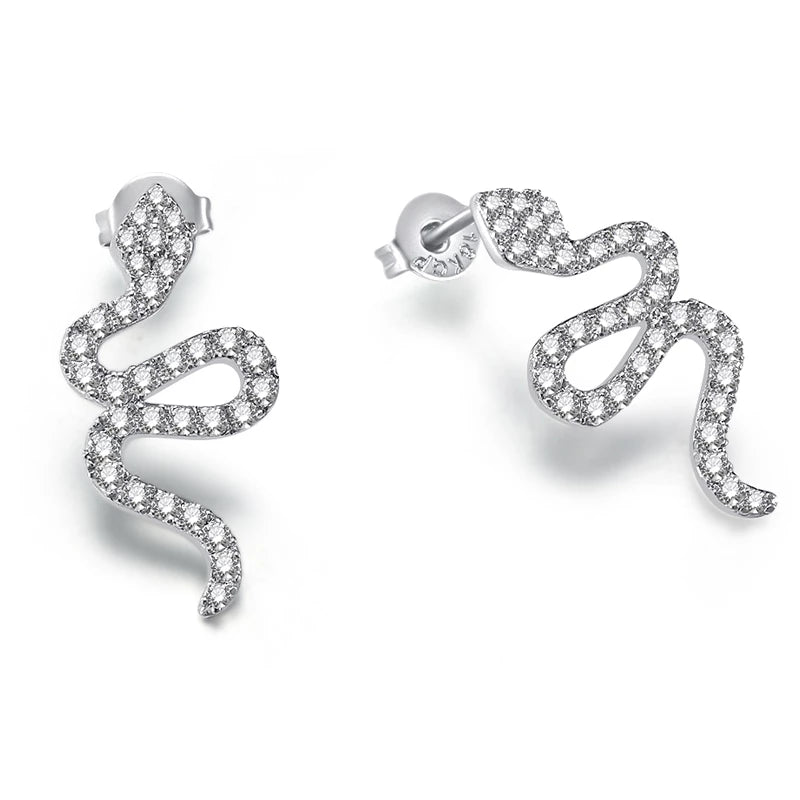 Platinum Silver Snake with Cubic Zirconia Stud Earrings