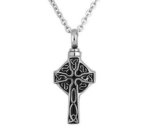 Stainless Steel Cross Urn Ashes Pendant Memorial Necklace