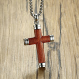 Rosewood Cross Pendant with Stainless Steel Chain Necklace