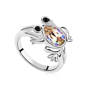 Silver Ring Austrian Crystal Frog Women's Jewelry