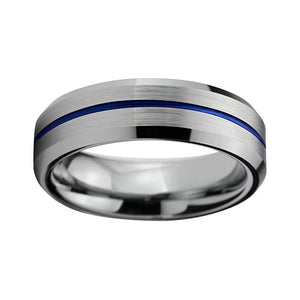 Silver Matte Tungsten Carbide Metal Band with Blue Groove Center Wedding Ring