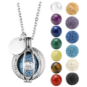 Essential Oil Diffuser Locket with Cubic Zirconia Pendant Necklace