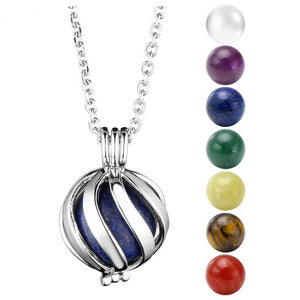 Chakra Bead and Lava Stone Essential Oil Diffuser Pendant Necklace