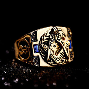 Gold Plated Stainless Steel Freemason Ring with Two Blue Crystals - Innovato Store