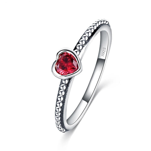 5mm 925 Sterling Silver with a Scarlet Crystal Love Heart Unisex Romantic Wedding Band