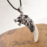 Wolf Head and Tooth Pendant Necklace