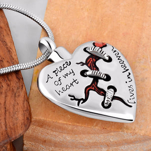 Heart with Stitch Cremation Pendant Memorial Necklace