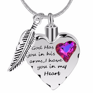 Silver Heart Feather with Cubic Zirconia Cremation Pendant Memorial Necklace