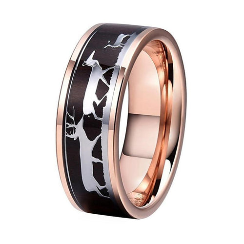 Dark Wood Inlay with Rein Deer Drawings on Rose Color Gold Coated Tungsten Carbide Ring - Innovato Store
