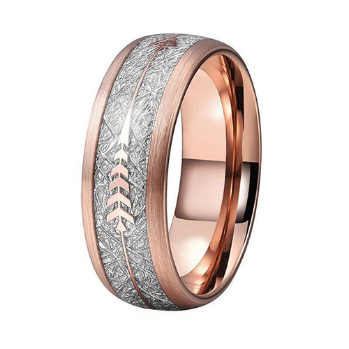 Silver Meteorite Inlay with Gold Plated Arrow and Brushed Rose Tone Tungsten Dome Shape Ring