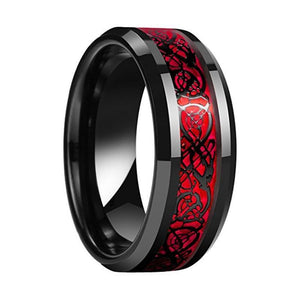 Unisex Tungsten Red and Black Dragon Wedding Band
