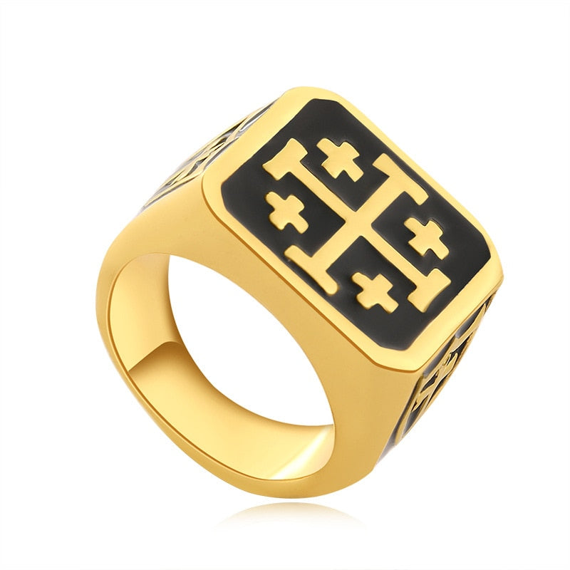 12mm Gold and Black Toned Vintage Jerusalem Cross Medieval Knight Templar Men's Jewelry Ring - Innovato Store