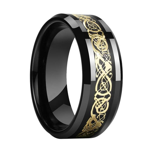 Gold Plated Dragon Inlay on Black Tungsten Carbon Fiber Wedding Ring