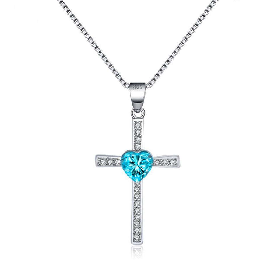925 Sterling Silver Cross with Sky Blue Cubic Zirconia Pendant Necklace