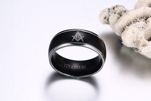 8mm Black Polished Smooth Surface Titanium Metal Masonic Ring - Innovato Store
