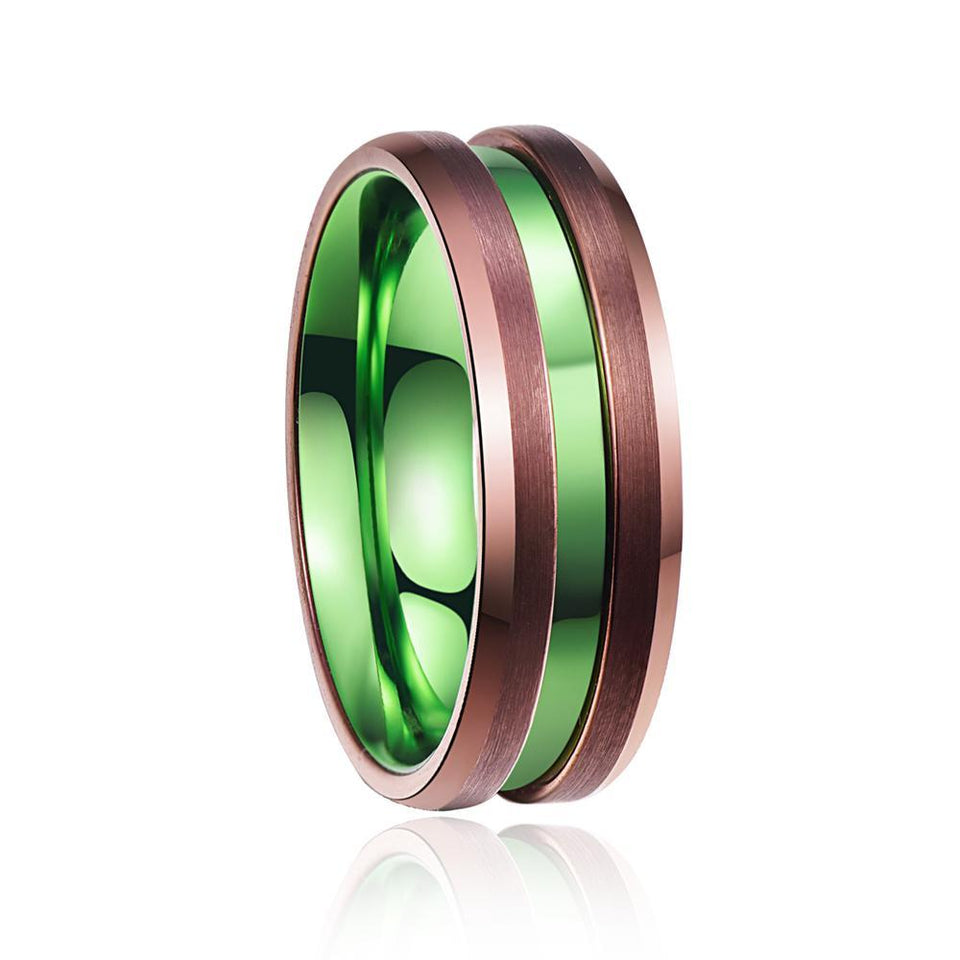 Go Green Color Tungsten Carbide with Copper Color Coated Brushed Matte Surface Wedding Ring - Innovato Store