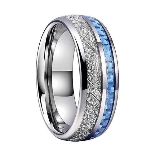 Tungsten Carbide Silver-plated Ring With Blue Carbon Fiber and Silver-plated Meteorite Inlay