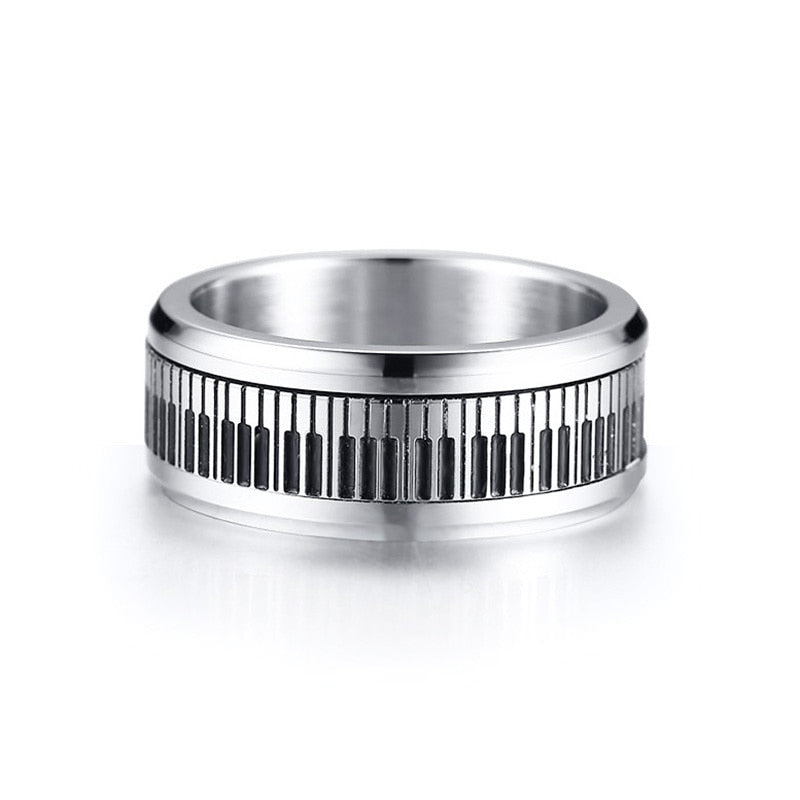 Spinning Piano Classic Stainless Steel Ring for Men