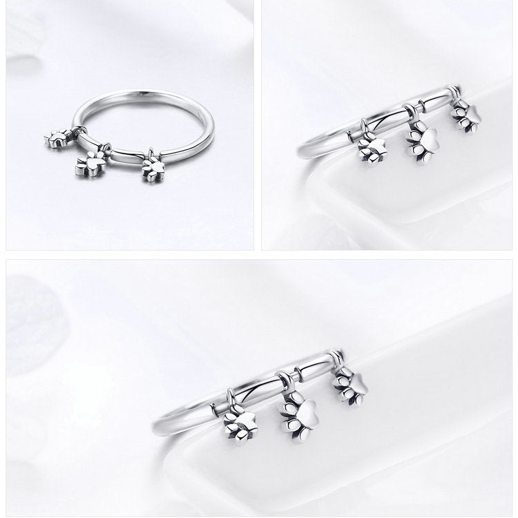 925 Sterling Silver Three Paw Prints Women Ring
