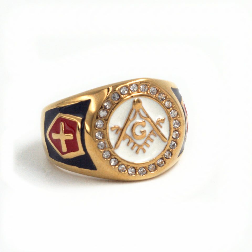Gold Plated Red Cross Stainless Steel Masonic Knights Templar Signet Ring for Men - Innovato Store