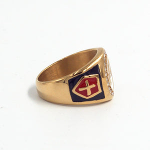 Gold Plated Red Cross Stainless Steel Masonic Knights Templar Signet Ring for Men