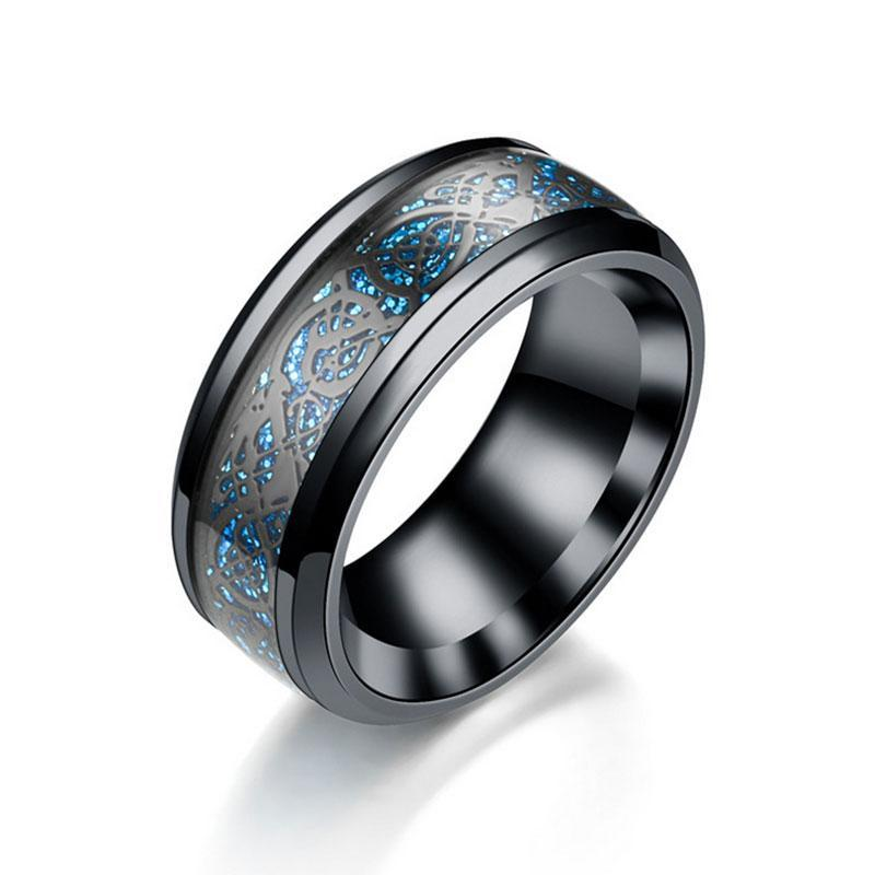Black and Blue, Black Dragon Stainless Steel Wedding Ring