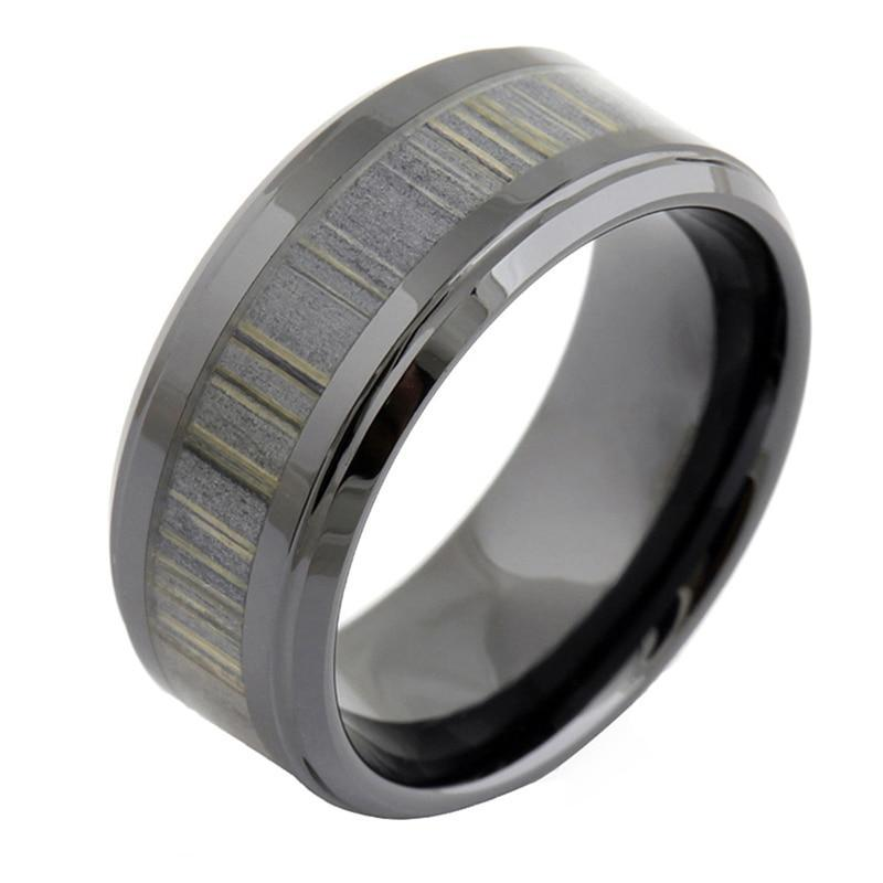 9mm Men's Vintage Ceramic Zebra Wood Inlay Wedding Ring - Innovato Store