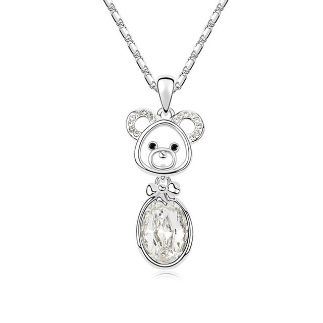 Cute Pig Monkey Pendant with Crystal Necklace Women's Jewelry