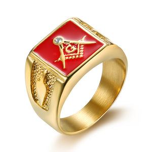 Stainless Steel Gold Plated Square Head Masonic Ring for Men