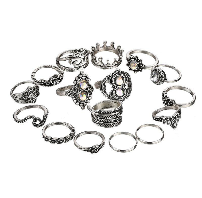 Bohemian Style Antique Silver Themed Women Knuckle Midi 16 Pcs Rings Set - Innovato Store