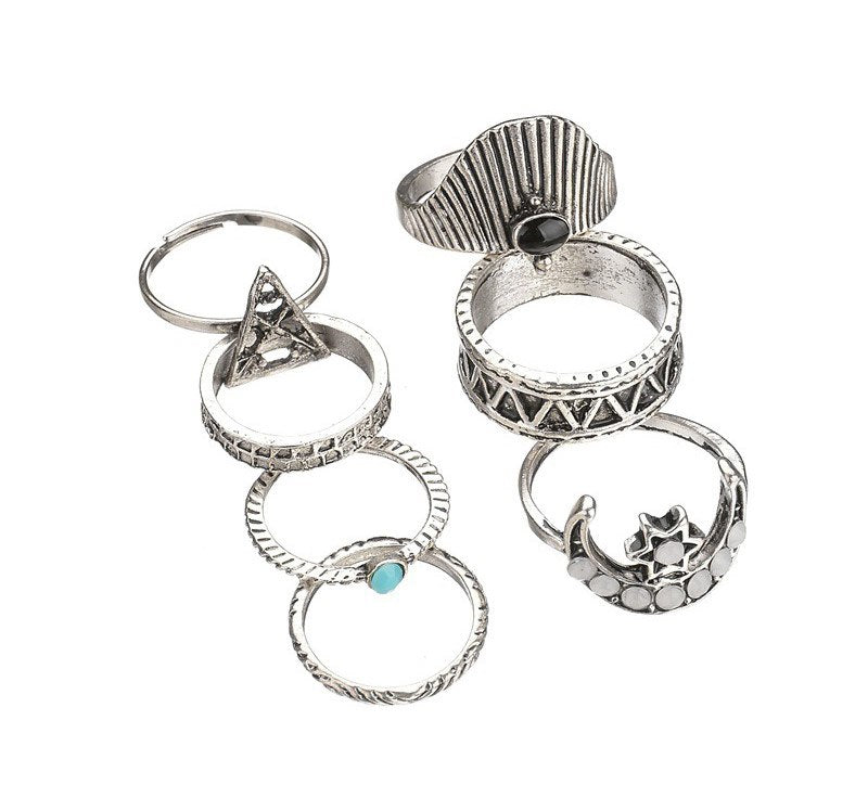 Vintage Silver Plated Zinc Alloy Women's Moon Star Bohemia Knuckle Rings Set