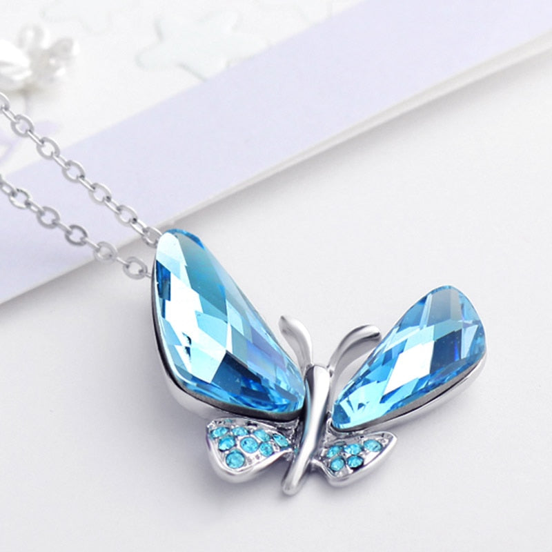 Sky Blue Austrian Crystal Elegant Butterfly Pendant Necklace