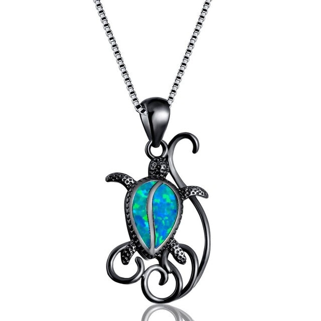 925 Sterling Silver Opal Turtles Charm Pendant Necklace Women's Jewelry