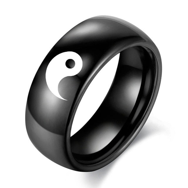 Black and White Color Tai Chi Ring for Couples with Yin and Yang - Innovato Store