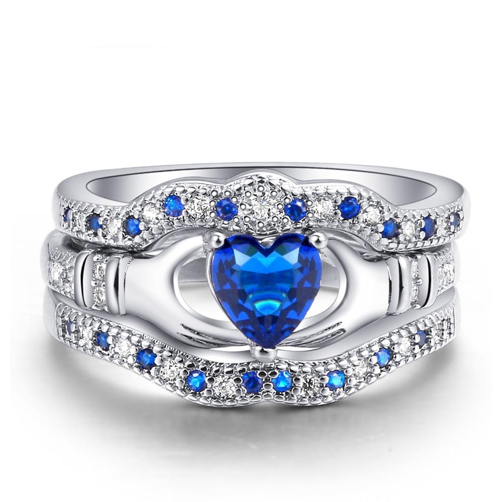 7mm Silver Plated Copper with Cobalt Blue Heart-Cut Cubic Zirconia Inset Princess Crown Wedding Band - Innovato Store