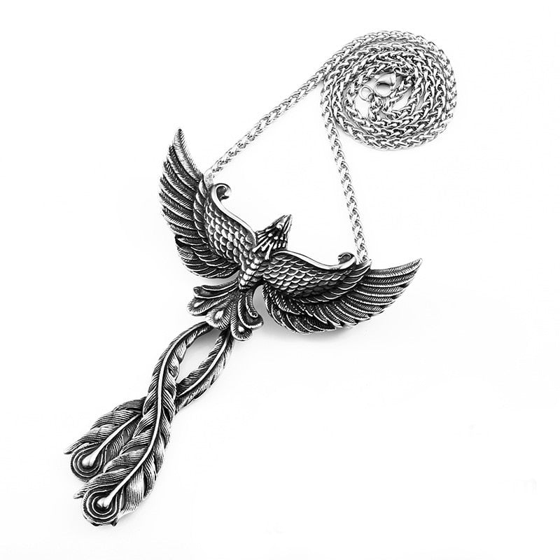 Stainless Steel 3D Phoenix Pendant Necklace