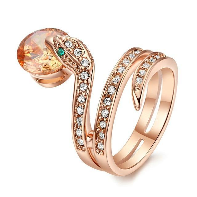 Rose Gold Plated Snake Ring for Women with Clear Zircons Inlay Green Zircons as Eyes and Big Red Zircon