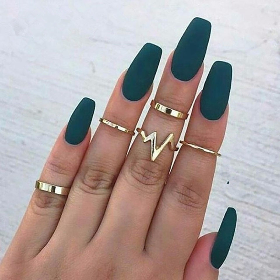 Lightning Strike or Ocean Waves Gold Toned 5 Pieces Finger Cocktail Ring Set for Women - Innovato Store