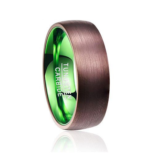 Electroplated Brown Green Dome Tungsten Carbide Men's Wedding Ring - Innovato Store