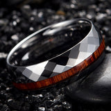 Offset Hexagonal Partner Surface with Deep Wood Inlay Wedding Ring - Innovato Store