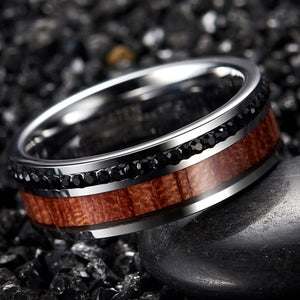 Black CZ stones with Wood Inlay and Silver Plated Tungsten Carbide Wedding Ring - Innovato Store