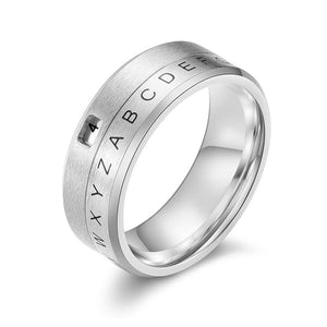8mm Silver Tone Rotating Party Ring for Men with Spinner Letter and Number Piece - Innovato Store