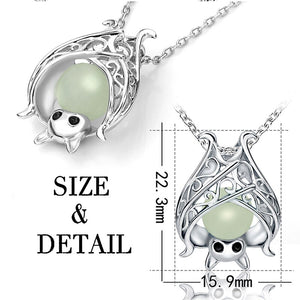 Luxury Glow in The Dark Luminous Bat Pendant 925 Sterling Silver