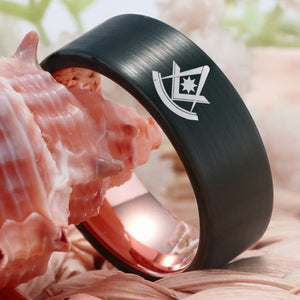 8mm Tungsten Carbide Black Plated Past Master Masonic Unisex Wedding Band with Wine Red Toned Interior - Innovato Store