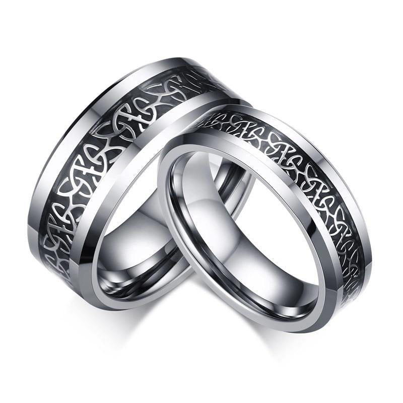 Tungsten Inlaid Celtics Knot Wedding Rings for Couples