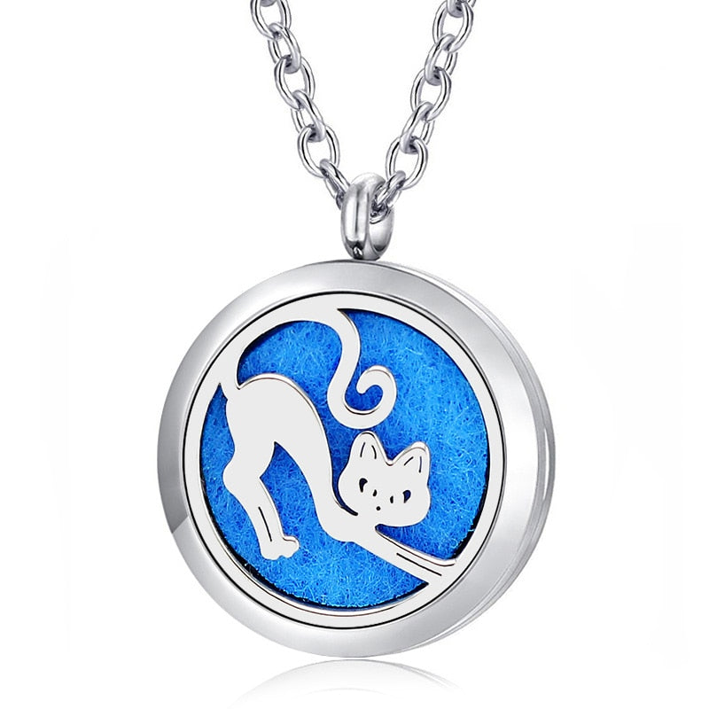 Kitty Cat Essential Oil Diffuser Perfumed Locket Necklace