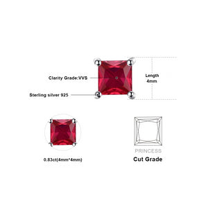 Square Red Ruby 925 Sterling Silver Stud Earrings